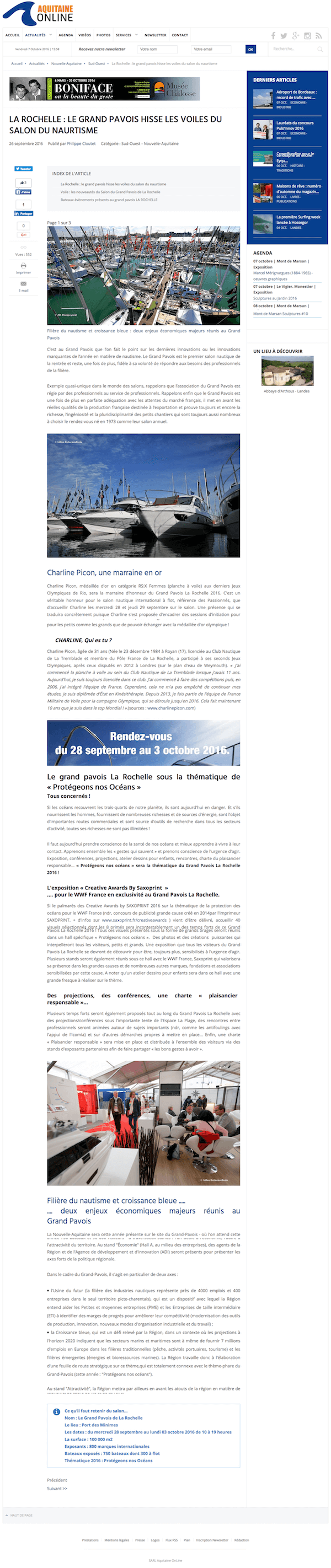 Lire l'article su Aquitaine Online