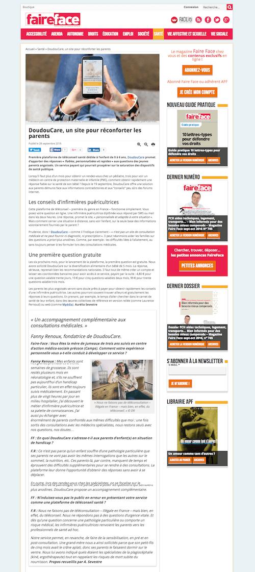 Article Doudoudcare dans FaireFace