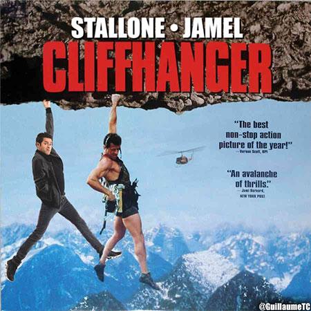 Stallone et Jamel suspendus à un rocher - affiche Cliffhanger