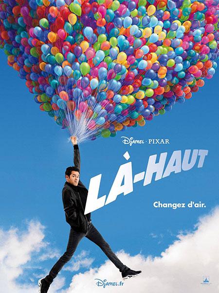 Jamel suspendu à des ballons de baudruche - affiche La-Haut