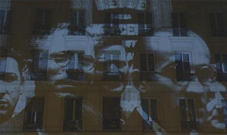 Projection de visages sur les murs