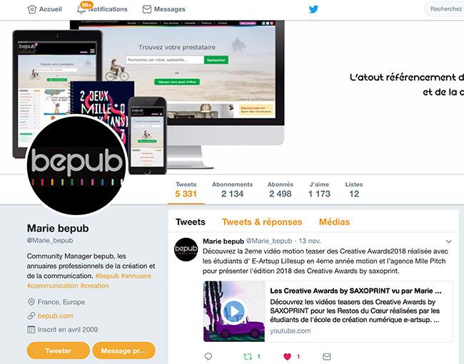 Tweet de BePub mentionnant les motions e-artsup