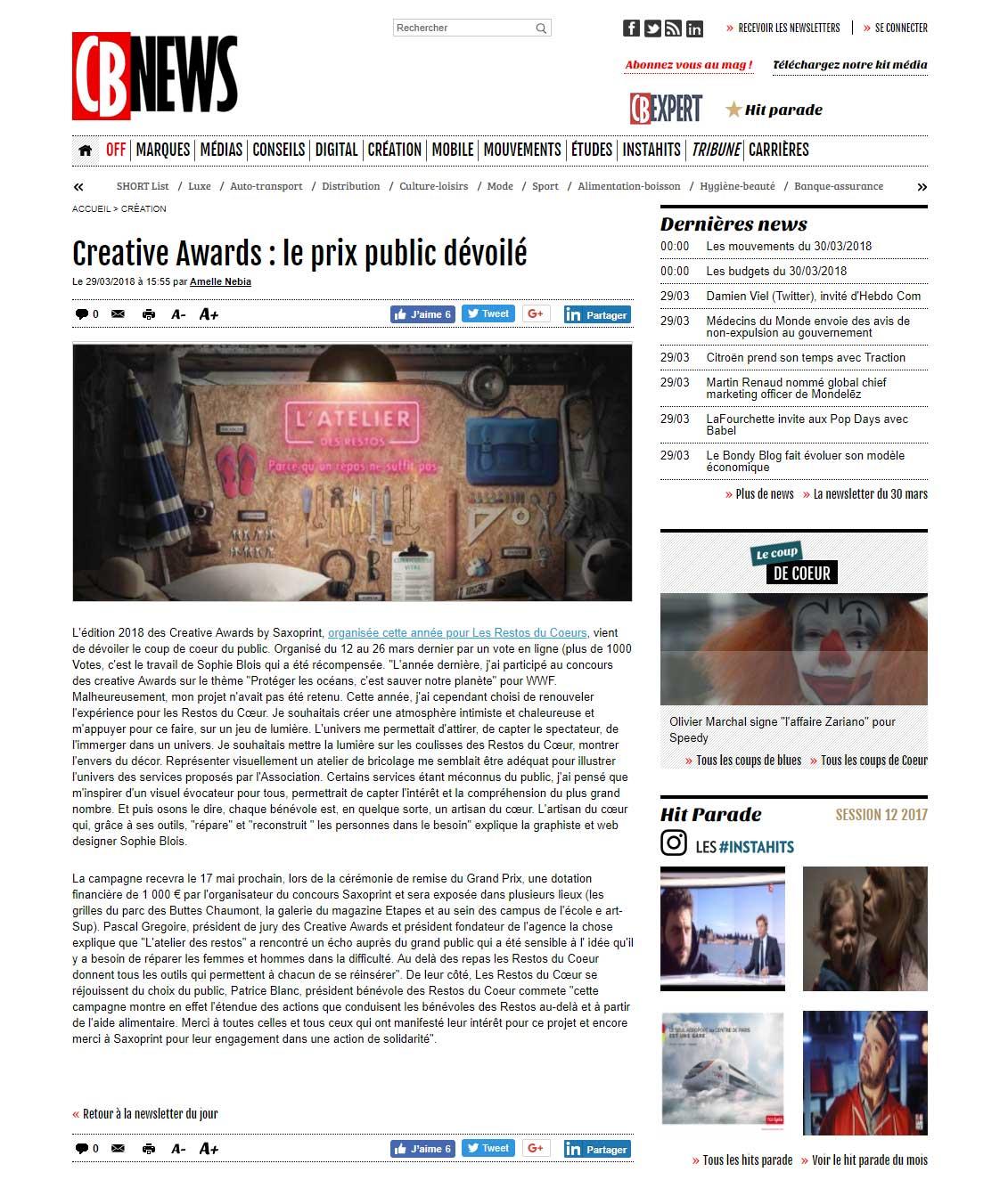 Creative Awards : le prix du public dévoilé