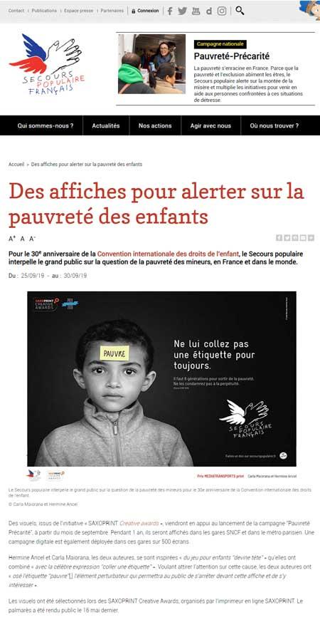 Des affiches pour alerter sur la pauvreté des enfants