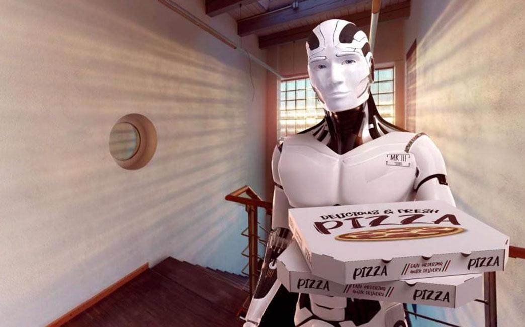 Un robot humanoïde livreur de pizza sur le pas d'une porte