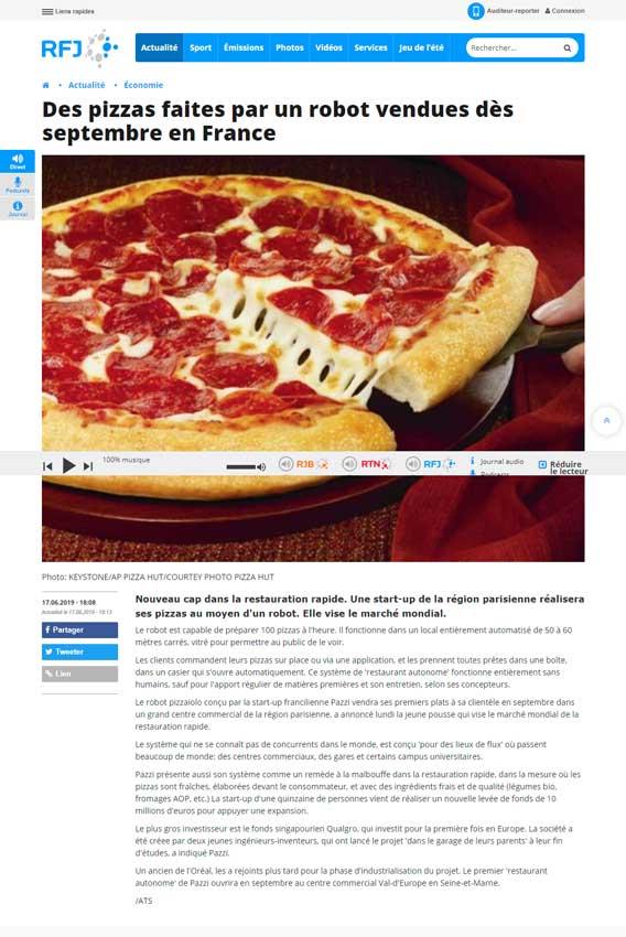 Des pizzas faites par un robot-vendues-des-septembre-en-France