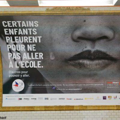 Campagne «Larme d'enfant» Secours Populaire grand prix du jury Saxoprint Creative Awards 2019