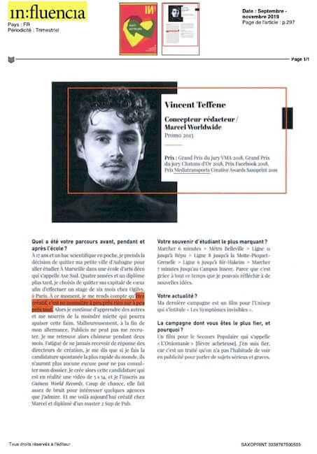 Vincent Teffene, concepteur rédacteur / Marcel Worldwide