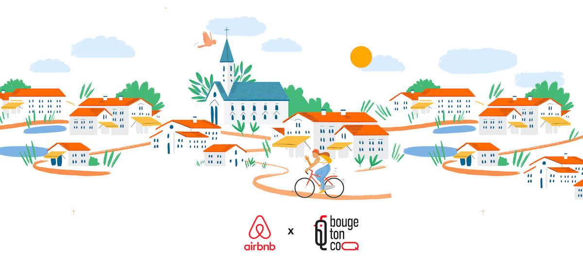 Dessin au trait d'un village français : église, chemin, cycliste