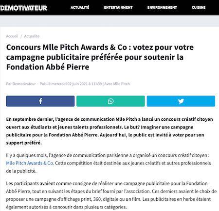 Concours Mlle Pitch Awards & Co : votez pour votre campagne publicitaire préférée pour soutenir la Fondation Abbé Pierre